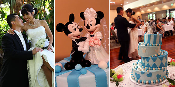 topsy turvy wedding cake with Mickey and Minnie Mouse at the very top